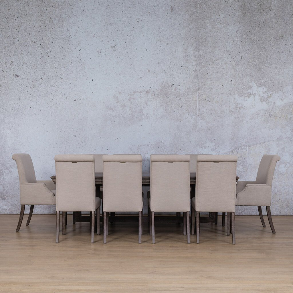 Bolton Fluted Wood Top & Baron | 10 Seater | Dining Set Leather Gallery
