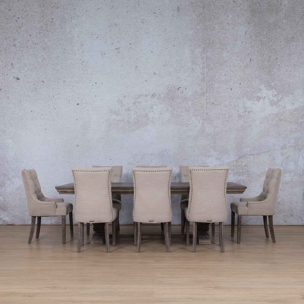 Belmont Fluted Wood Top & Duchess | 8 Seater | Dining Set | Leather Gallery