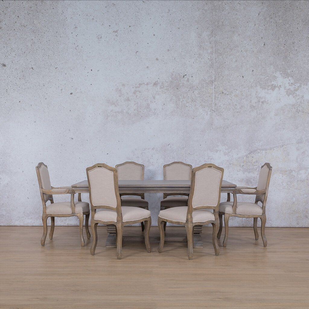 Belmont Fluted Wood Top & Duke | 6 Seater | Dining Set | Leather Gallery