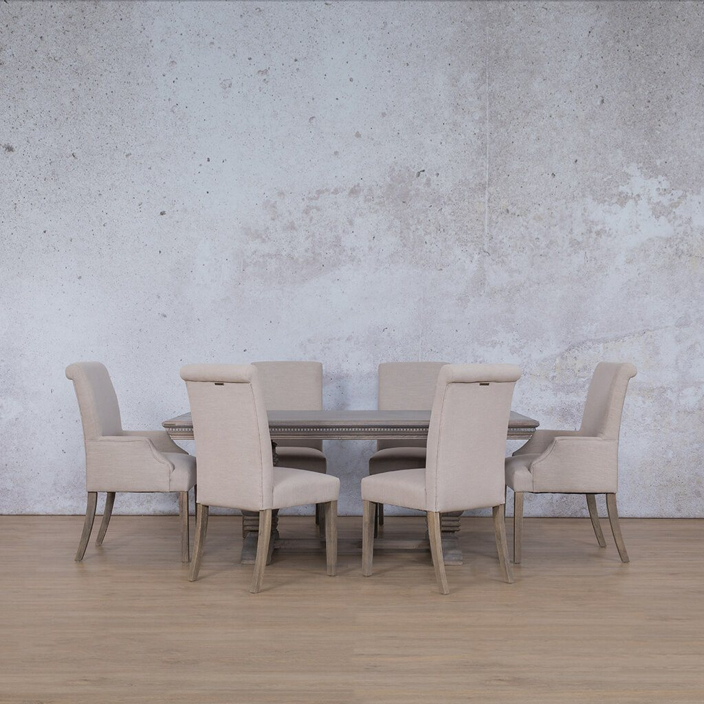 Belmont Fluted Wood Top & Baron | 6 Seater | Dining Set | Leather Gallery