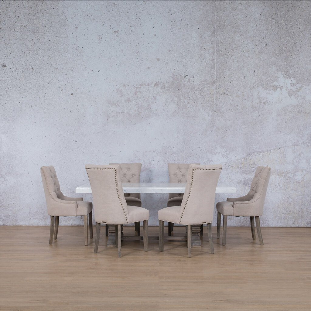 Belmont Marble Top & Duchess 6 Seater Dining Set