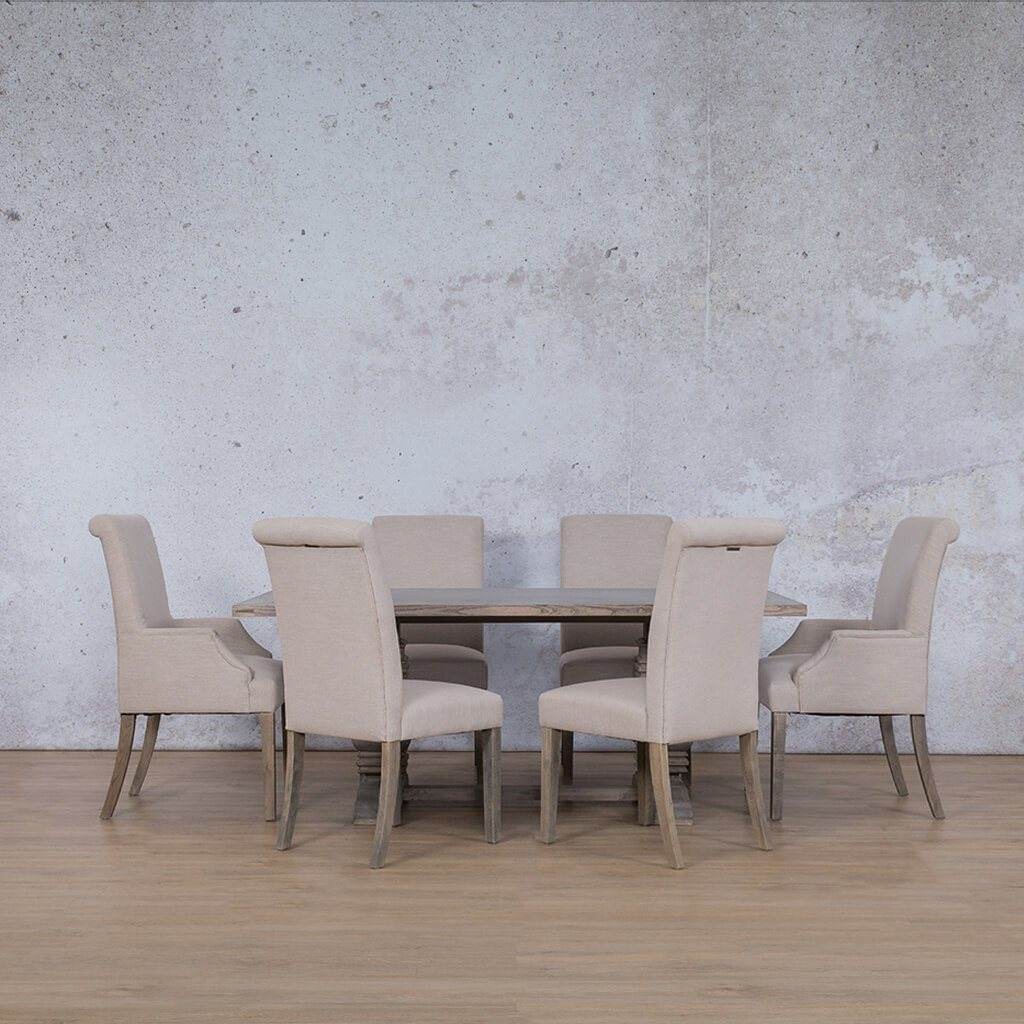 Belmont & Baron Dining Set | 6 Seater Dining Set | Antique Grey | Dining sets for Sale | Wood Table Top | Leather Gallery Dining Sets