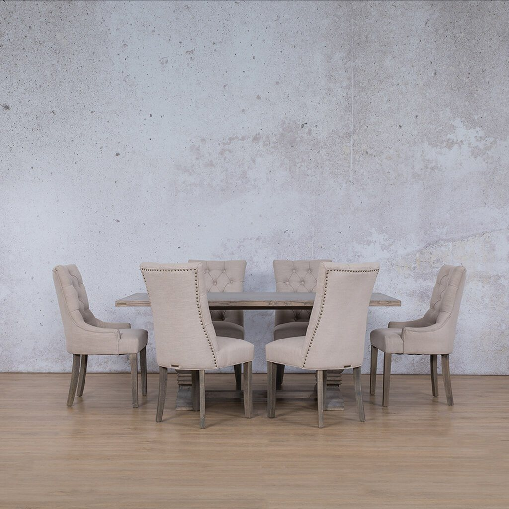 Belmont Wood Top & Duchess | 6 Seater | Dining Set | Leather Gallery