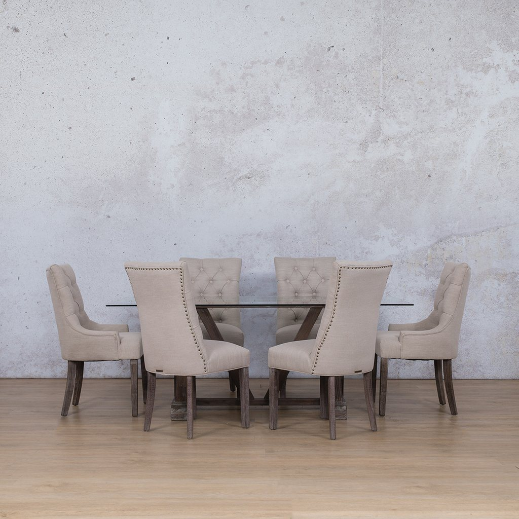 Berkeley & Duchess Dining Set | 6 Seater Dining Set | Antique Coffee | Dining sets for Sale | Glass Table Top | Leather Gallery Dining Sets