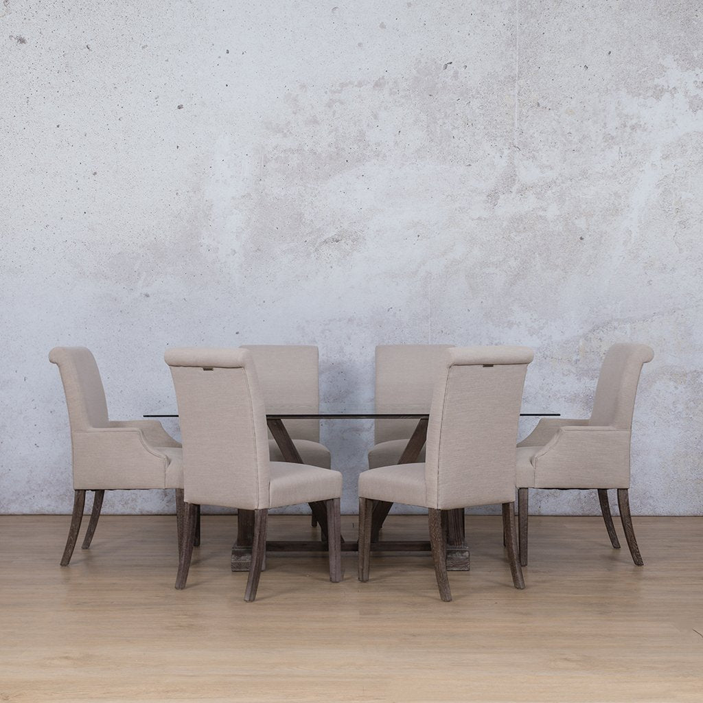 Berkeley & Baron Dining Set | 6 Seater Dining Set | Antique Coffee | Dining sets for Sale | Glass Table Top | Leather Gallery Dining Sets