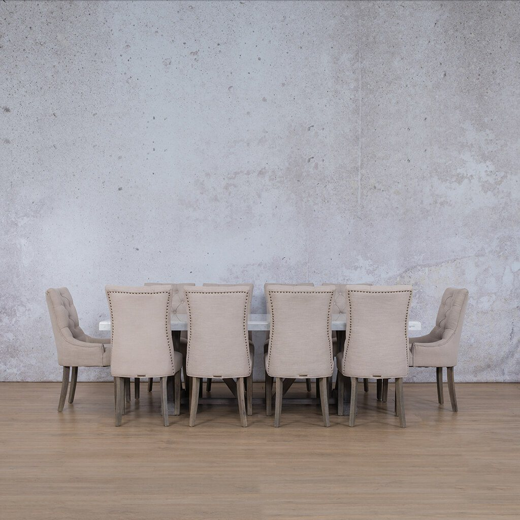 Berkeley Marble Top & Duchess | 10 Seater | Dining Set | Leather Gallery