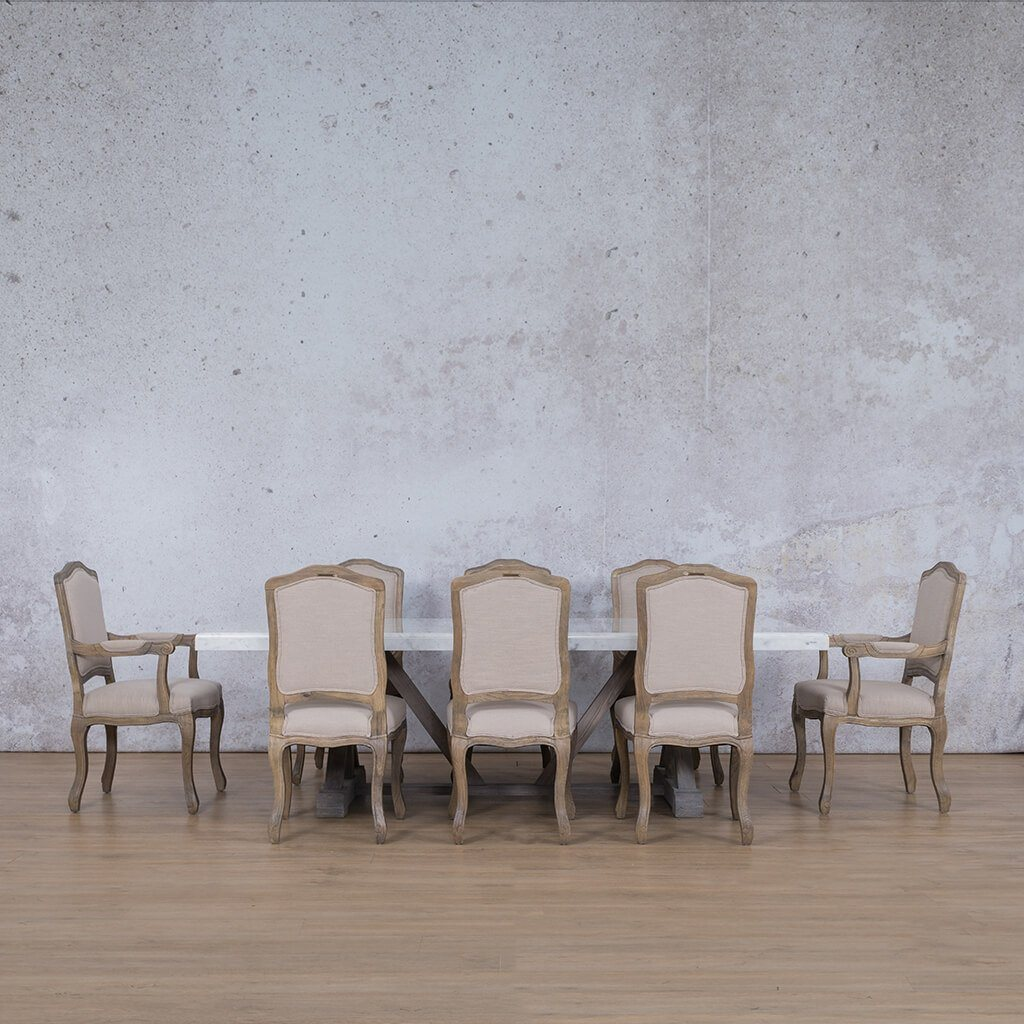 Berkeley Marble Top & Duke | 8 Seater | Dining Set | Leather Gallery