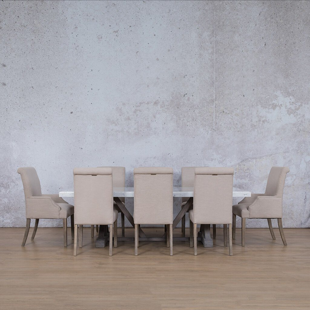 Berkeley & Baron Dining Set | 8 Seater Dining Set | Antique Grey | Dining sets for Sale | Marble Table Top | Leather Gallery Dining Sets