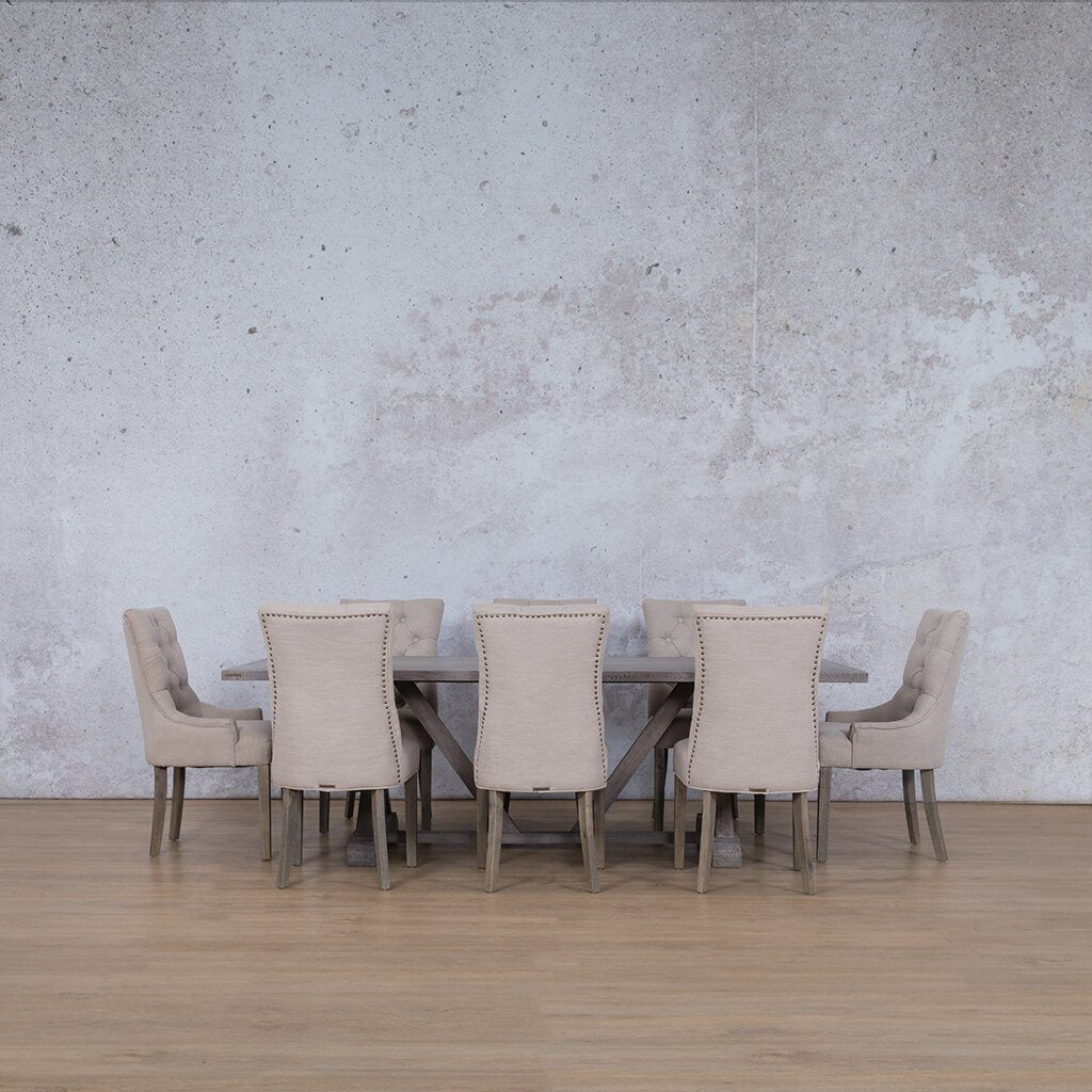 Berkeley Wood Top & Duchess | 8 Seater | Dining Set | Leather Gallery
