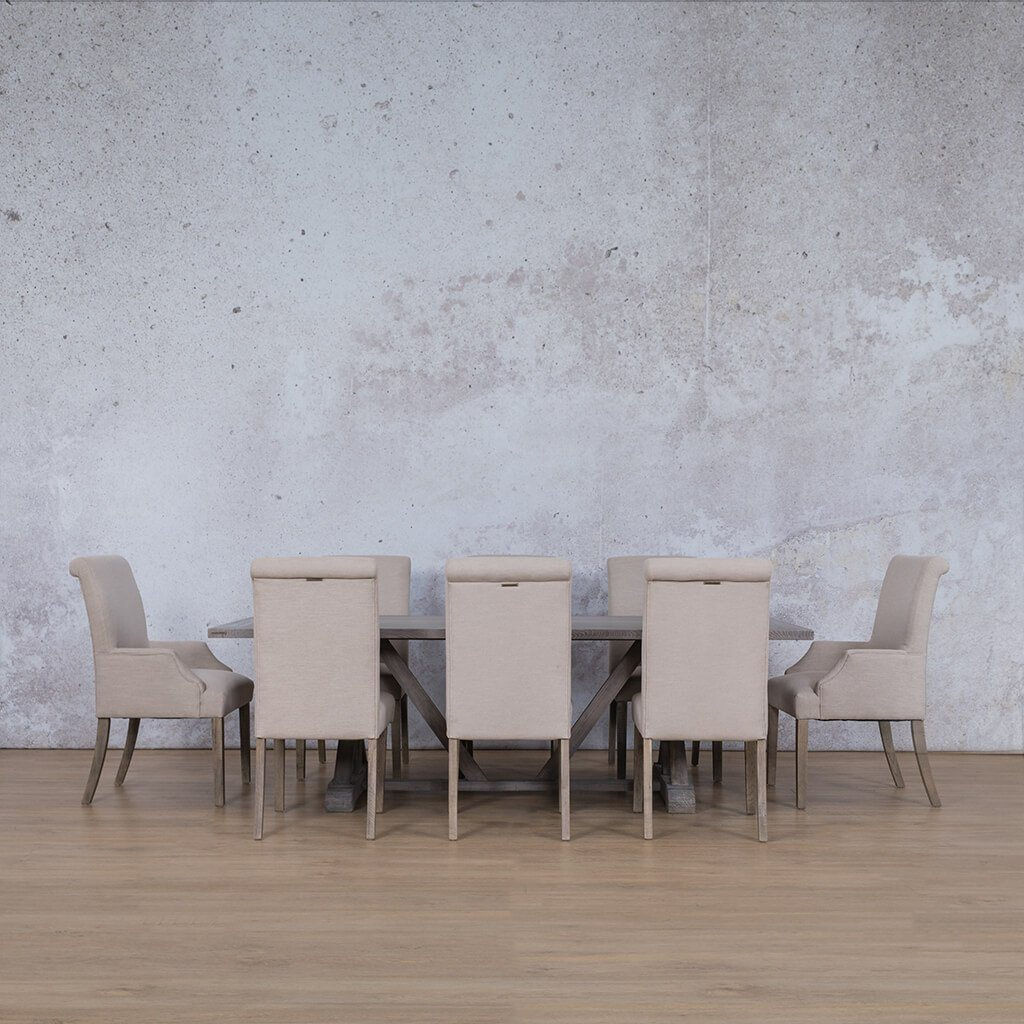 Berkeley & Baron Dining Set | 8 Seater Dining Set | Antique Grey | Dining sets for Sale | Wood Table Top | Leather Gallery Dining Sets