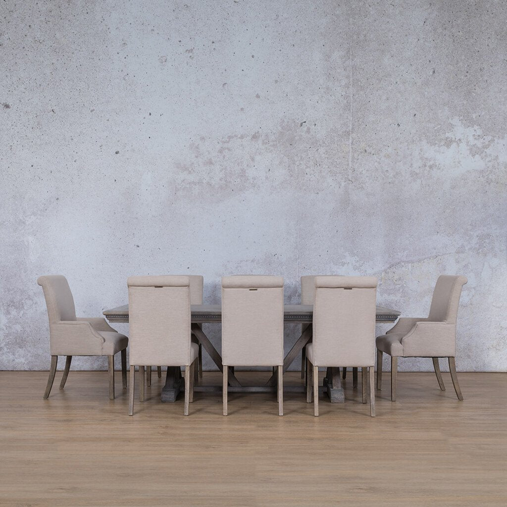 Berkeley & Baron Dining Set | 8 Seater Dining Set | Antique Grey | Dining sets for Sale | Fluted Wood Table Top | Leather Gallery Dining Sets