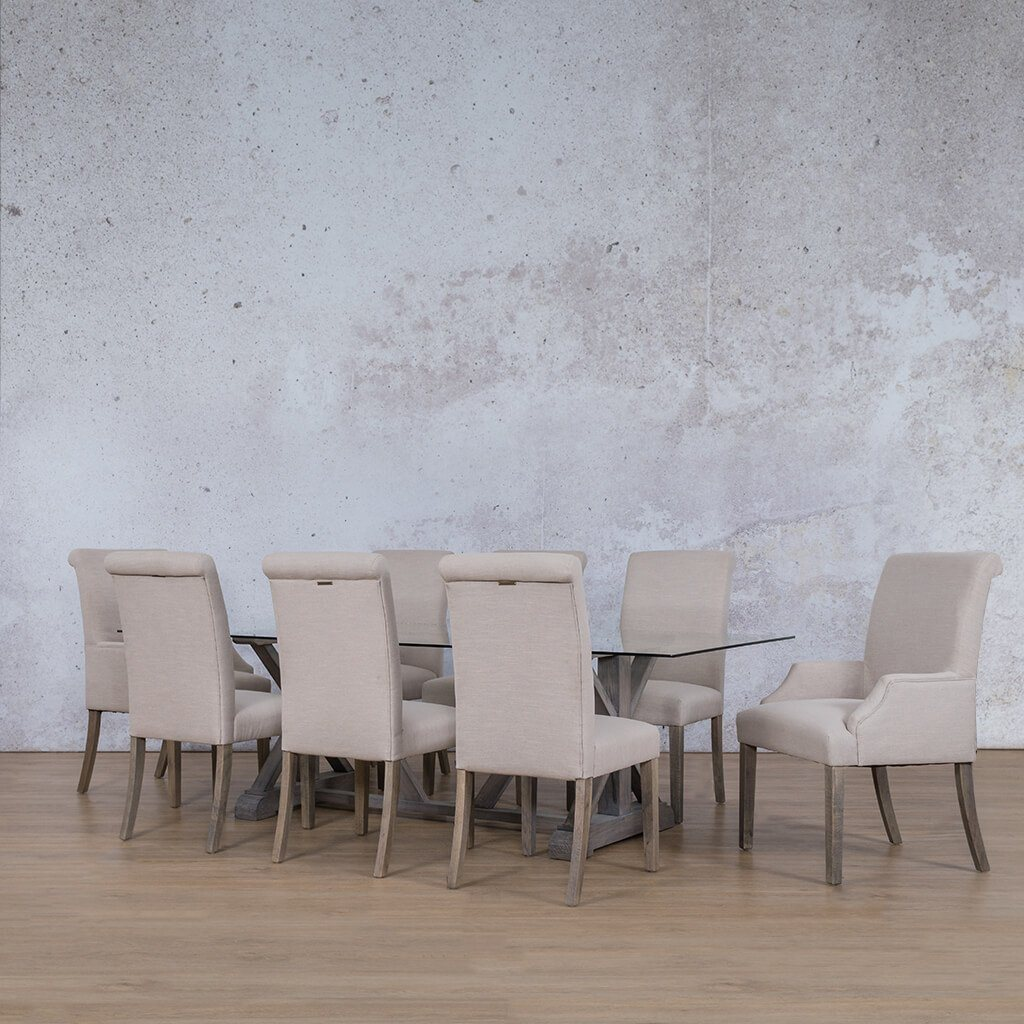 Berkeley & Baron Dining Set | 8 Seater Dining Set | Antique Grey | Angled Length View | Dining sets for Sale | Glass Table Top | Leather Gallery Dining Sets