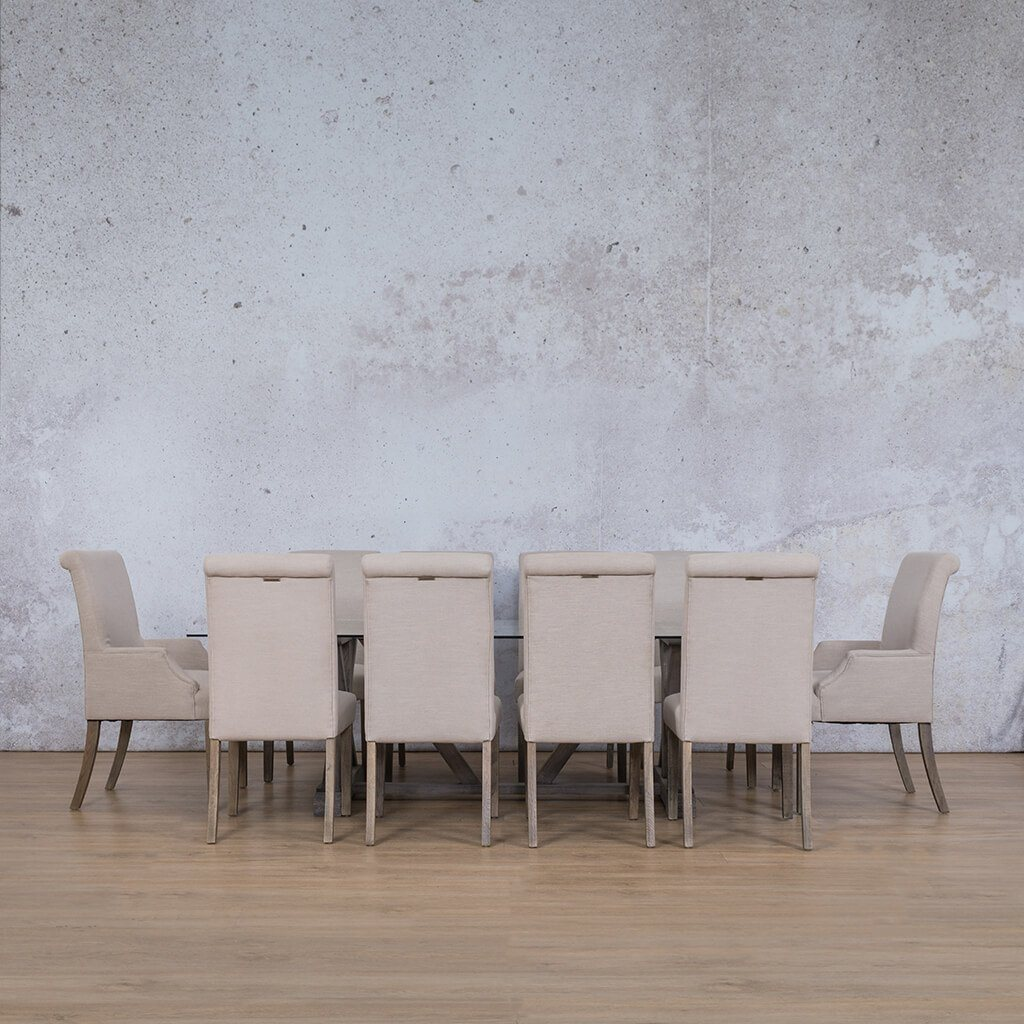 Berkeley & Baron Dining Set | 10 Seater Dining Set | Antique Grey | Dining sets for Sale | Glass Table Top | Leather Gallery Dining Sets
