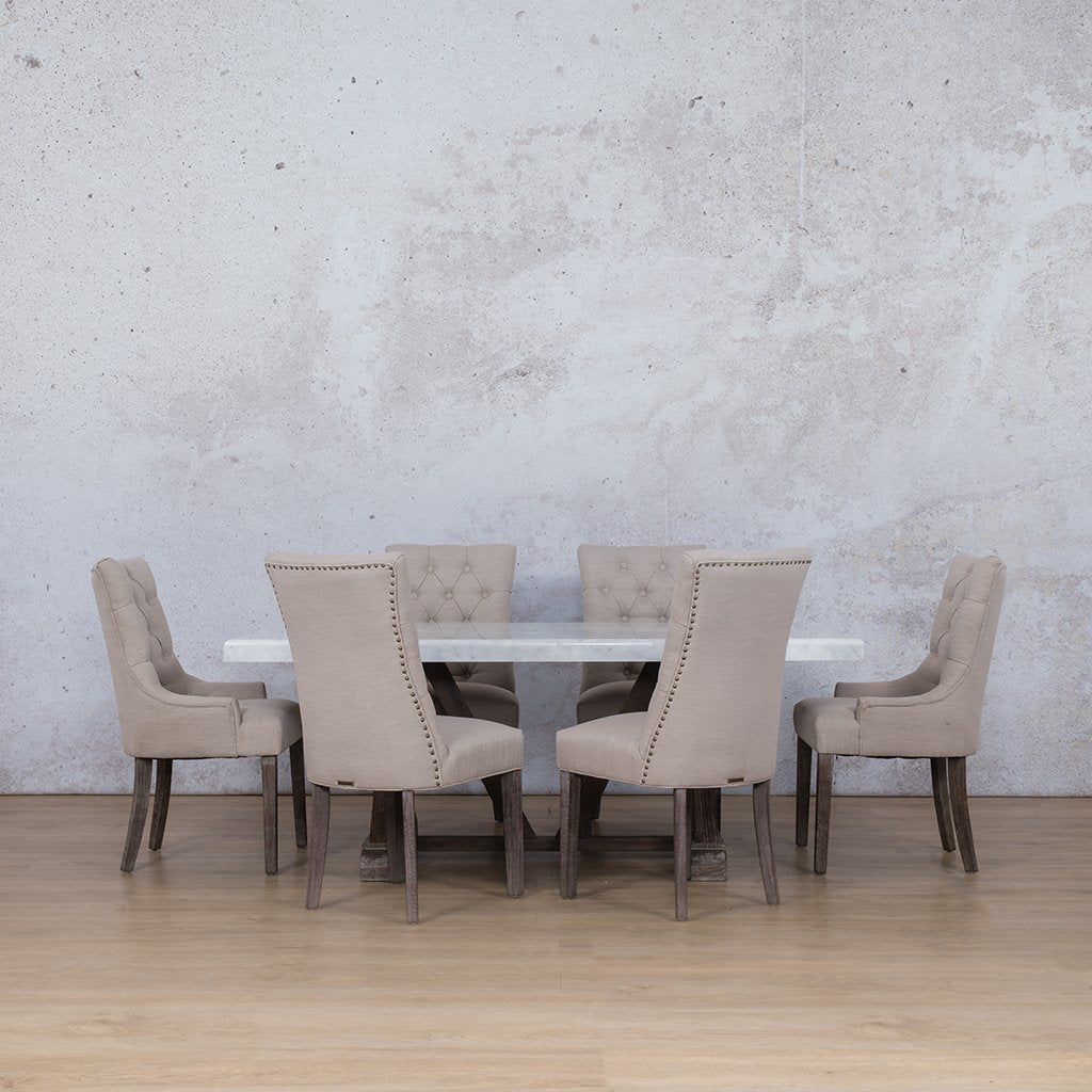 Berkeley Marble Top & Duchess 6 Seater Dining Set