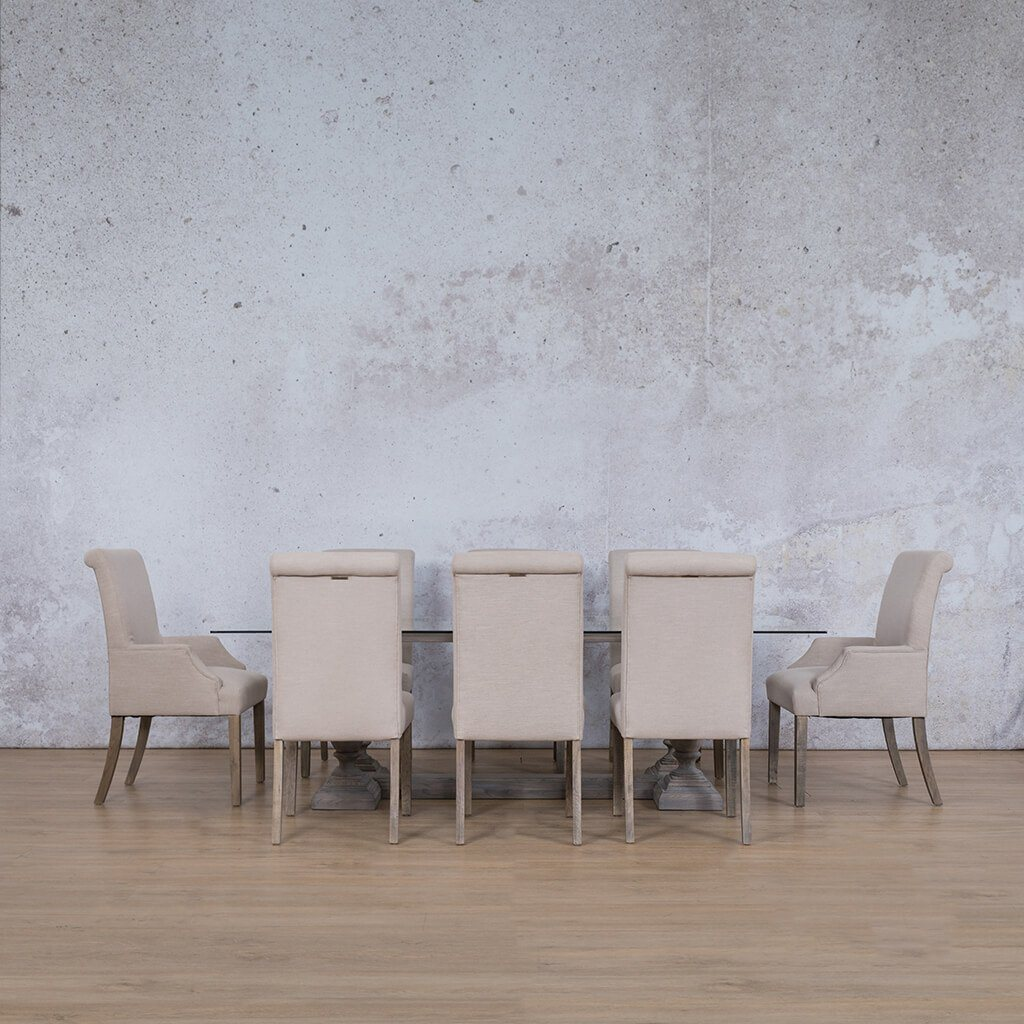 Charlotte Glass Top & Baron 8 Seater Dining Set