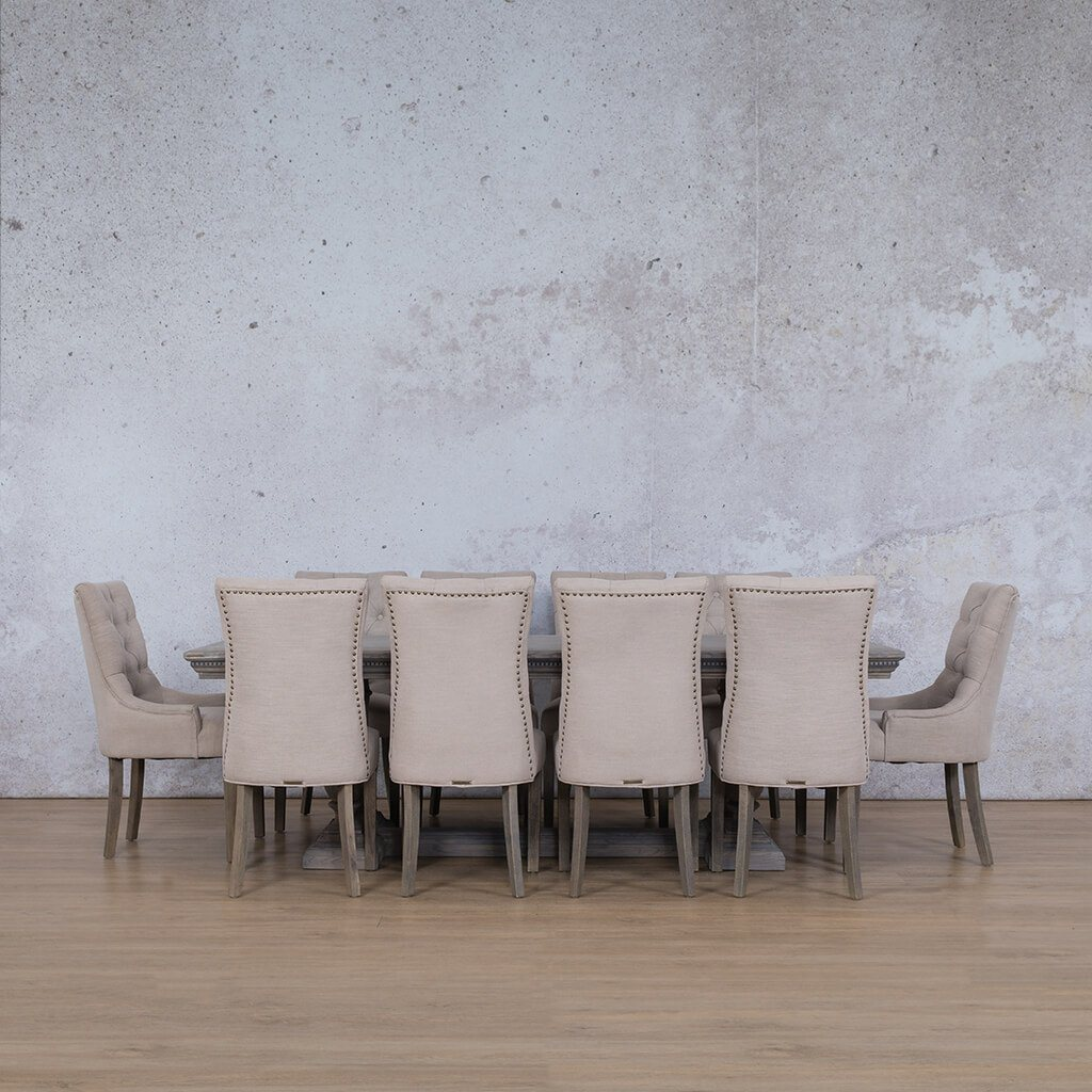 Charlotte Fluted Wood Top & Duchess | 10 Seater |  Dining Set | Leather Gallery