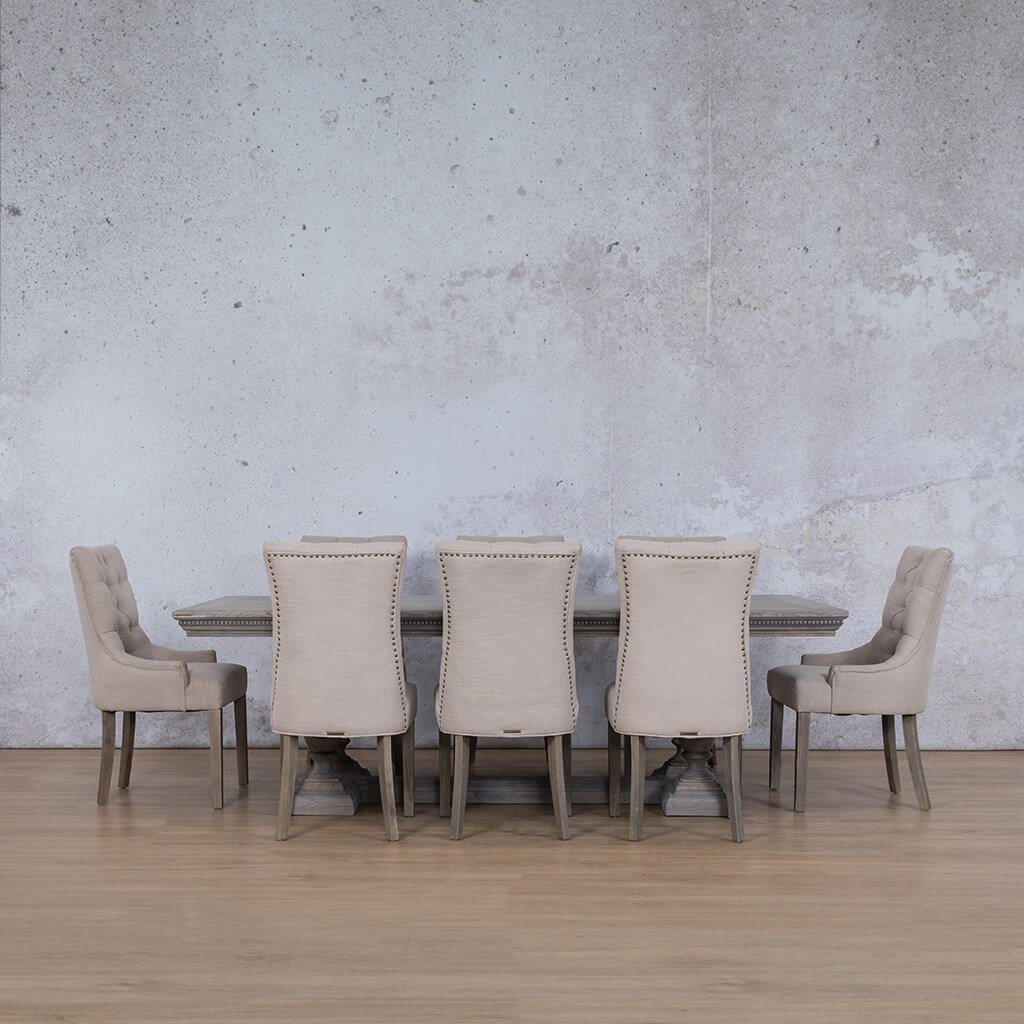 Charlotte Fluted Wood Top & Duchess | 8 Seater | Dining Set | Leather Gallery