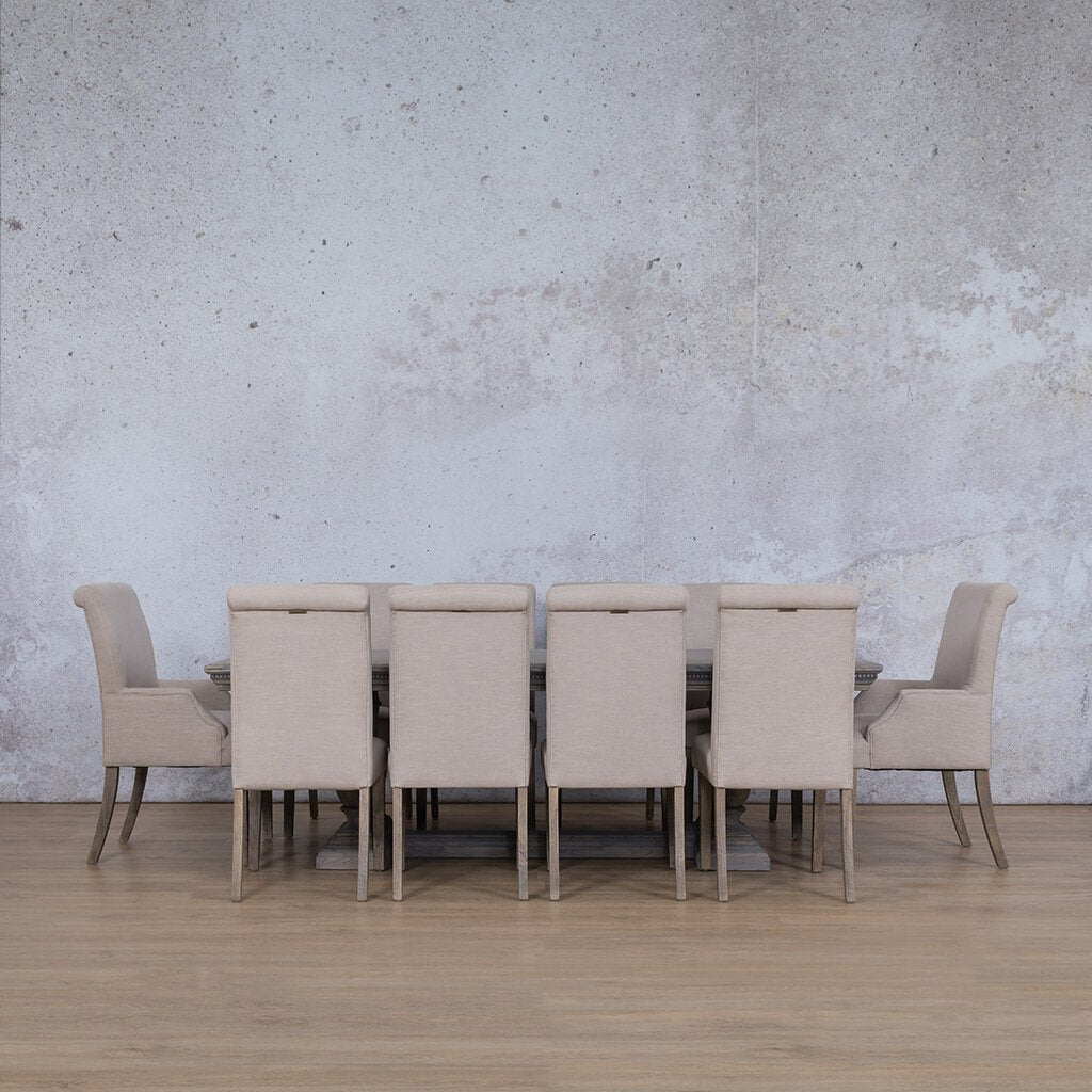 Charlotte Fluted Wood Top & Baron | 10 Seater | Dining Set | Leather Gallery