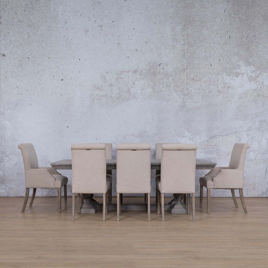 Charlotte Fluted Wood Top & Baron | 8 Seater | Dining Set | Leather Gallery