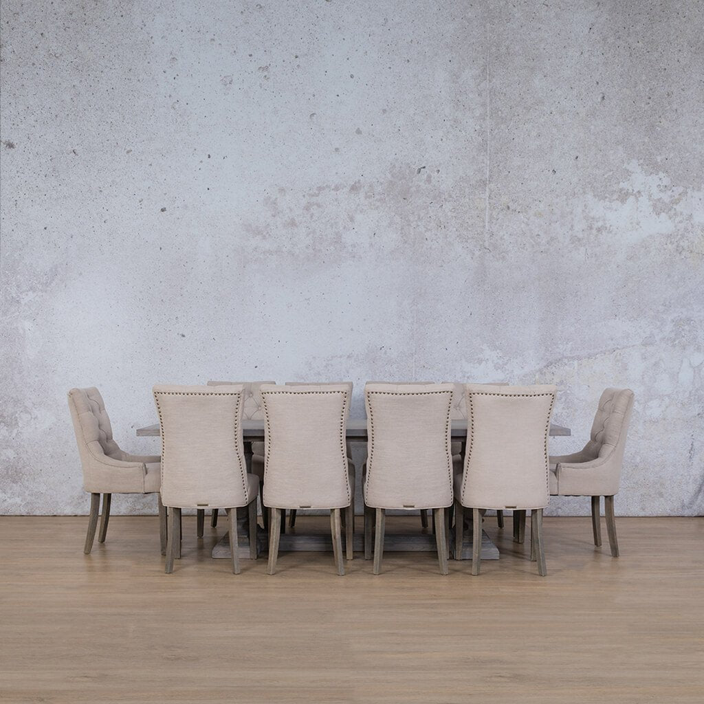 Charlotte Wood Top & Duchess | 10 Seater | Dining Set | Leather Gallery