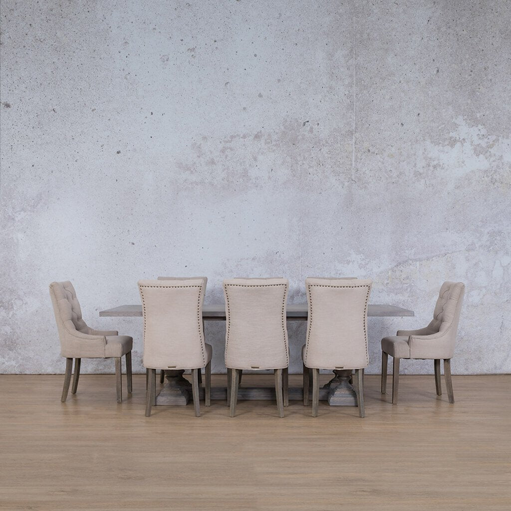 Charlotte Wood Top & Duchess | 8 Seater | Dining Set | Leather Gallery
