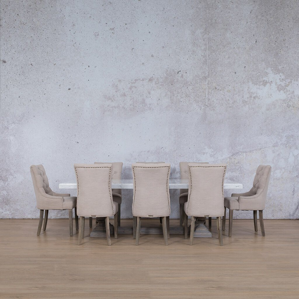 Charlotte Marble Top & Duchess | 8 Seater | Dining Set  | Leather Gallery