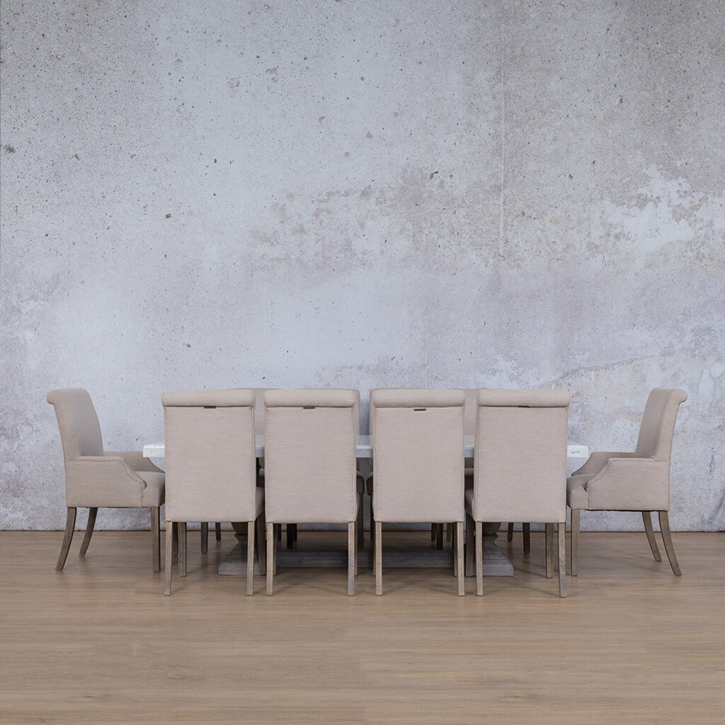 Charlotte Marble Top & Baron | 10 Seater | Dining Set | Leather Gallery