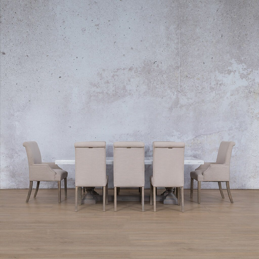 Charlotte Marble Top & Baron | 8 Seater | Dining Set | Leather Gallery