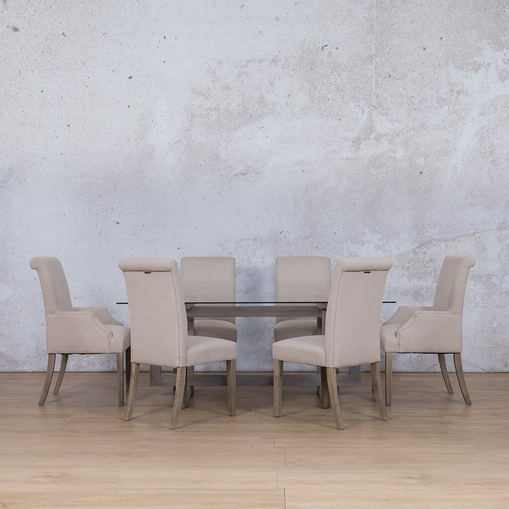 Bolton Glass Top & Baron 6 Seater Dining Set