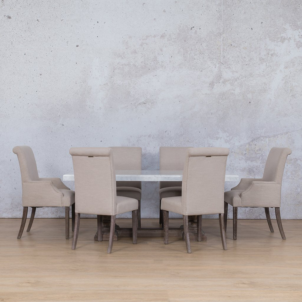 Charlotte Marble Top & Baron | 6 Seater | Dining Set | Leather Gallery