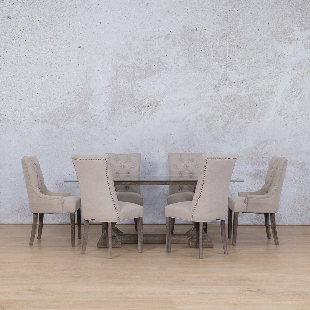 Charlotte Glass Top & Duchess 6 Seater Dining Set
