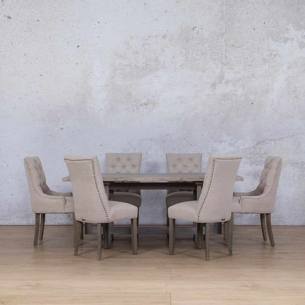 Bolton Wood Top & Duchess | 6 Seater | Dining Set | Leather Gallery