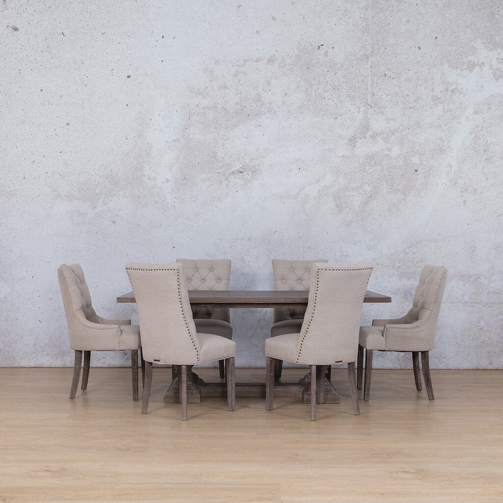Charlotte Wood Top & Duchess 6 Seater Dining Set