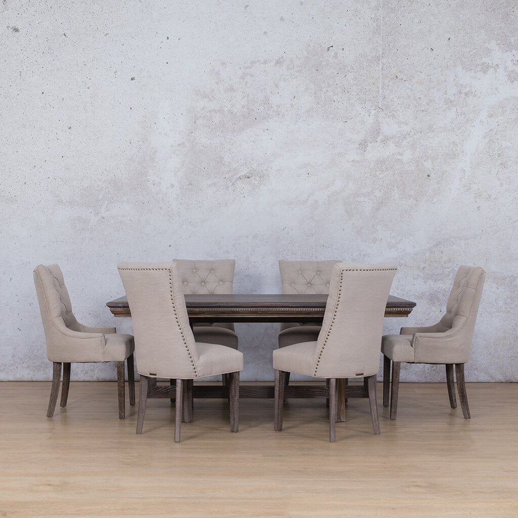 Bolton Fluted Wood Top & Duchess 6 Seater Dining Set