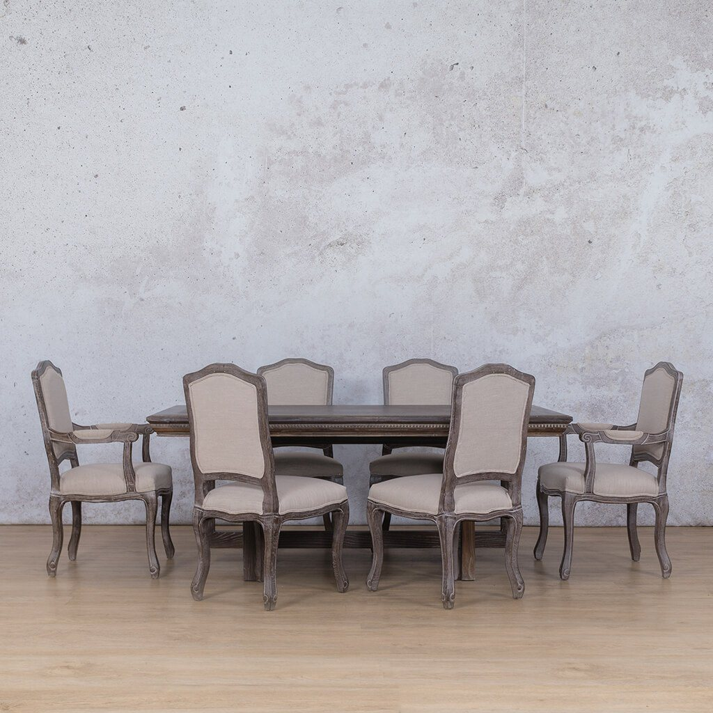 Bolton Fluted Wood Top & Duke 6 Seater Dining Set