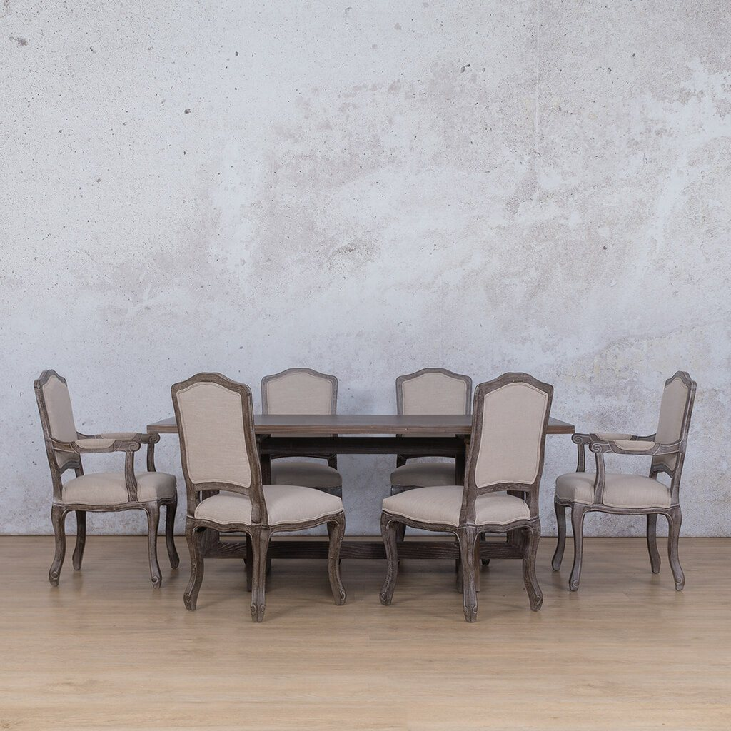 Bolton Wood Top & Duke | 6 Seater | Dining Set | Leather Gallery
