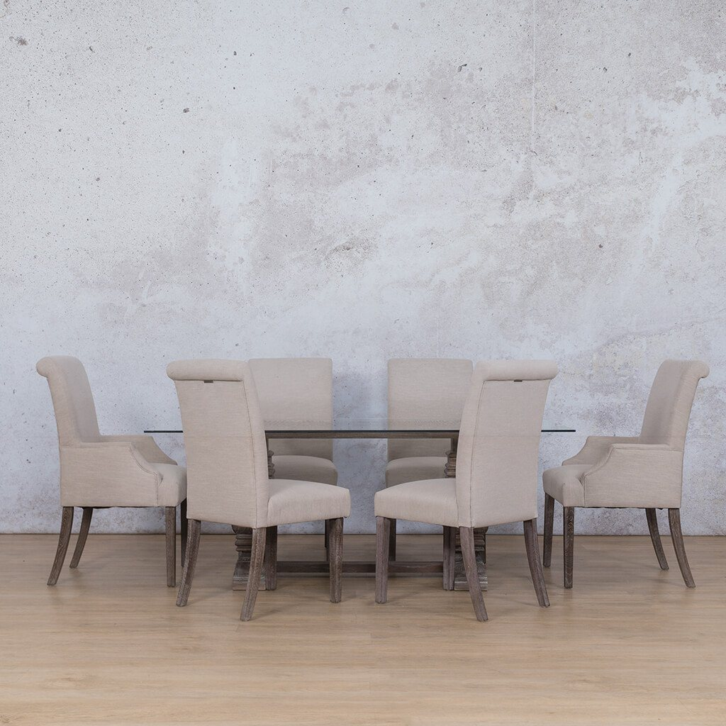 Belmont Glass Top & Baron 6 Seater Dining Set
