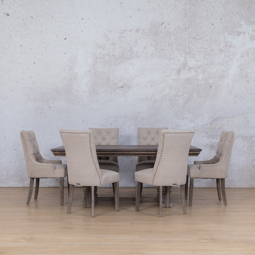 Belmont Fluted Wood & Duchess | 6 Seater | Dining Set | Leather Gallery