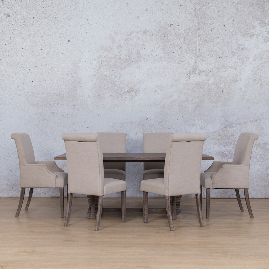 Belmont & Baron Dining Set | 6 Seater Dining Set | Antique Coffee | Dining sets for Sale | Wood Table Top | Leather Gallery Dining Sets