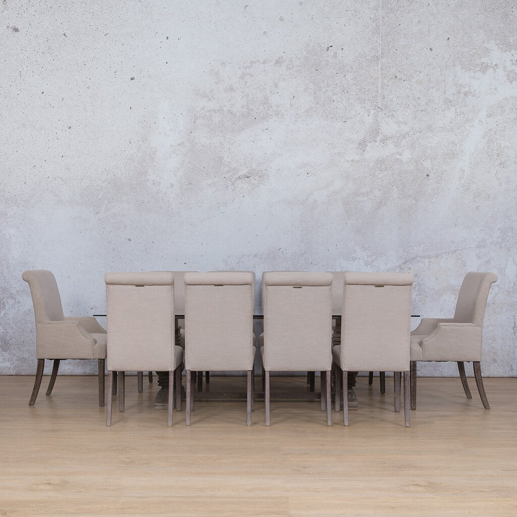 Belmont & Baron Dining Set | 10 Seater Dining Set | Antique Coffee | Dining sets for Sale | Glass Table Top | Leather Gallery Dining Sets