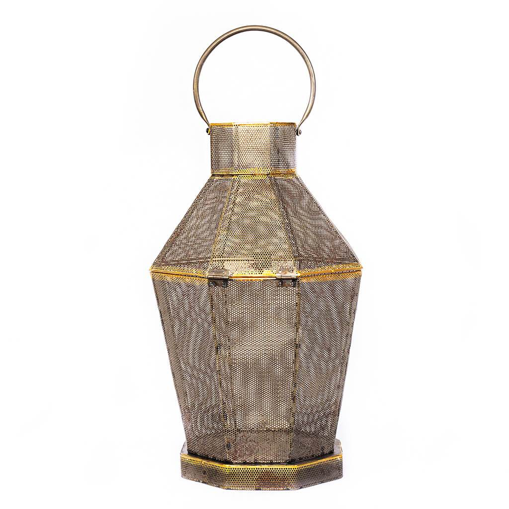 Anya Gold Metal Mesh Lantern | Leather Gallery