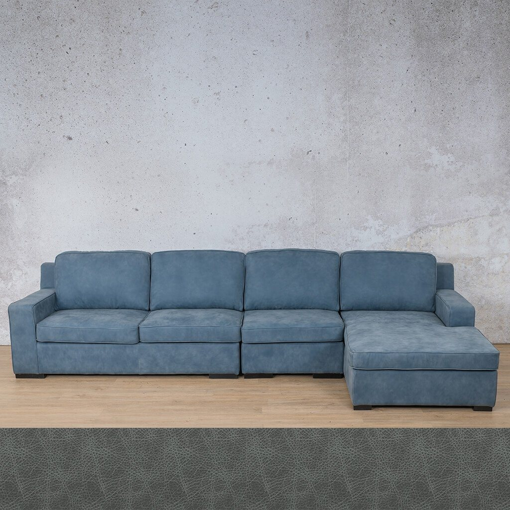 Arizona Leather Couch | Modular Sofa Chaise RHF | Bedlam Blue Night | Leather Gallery