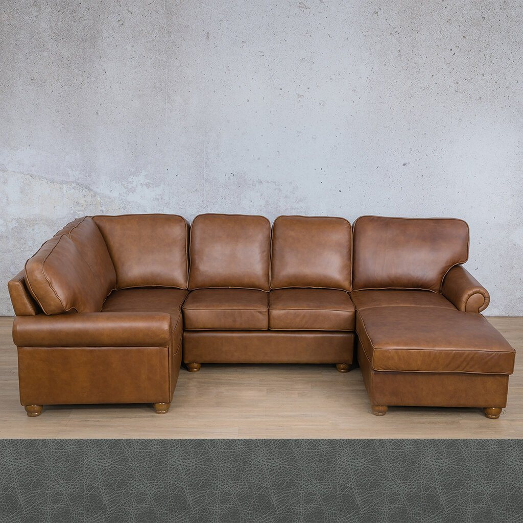 Salisbury Leather Corner Couch | U-Sofa Chaise Sectional RHF | Bedlam Blue Night | Couches For Sale | Leather Gallery Couches