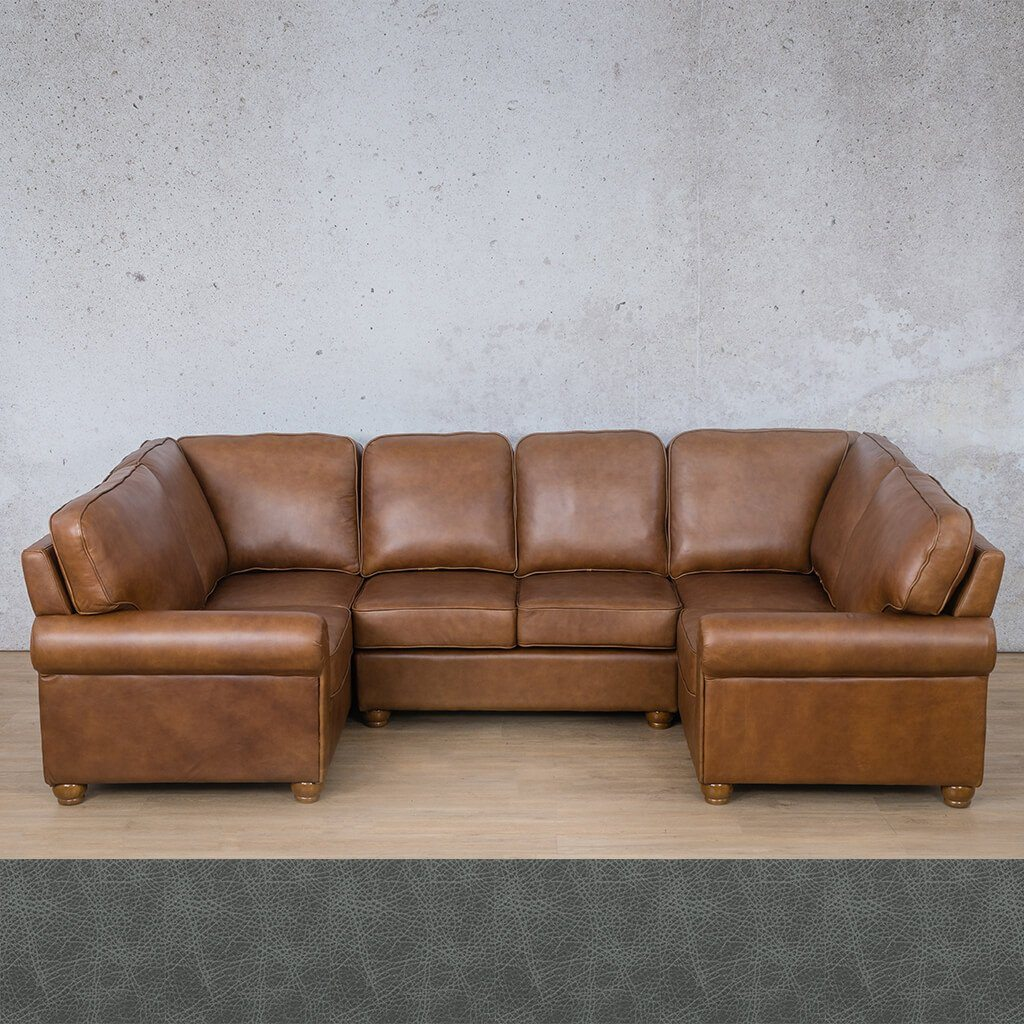 Salisbury Leather Corner Couch | U-Sofa Sectional | Bedlam Blue Night | Couches For Sale | Leather Gallery Couches
