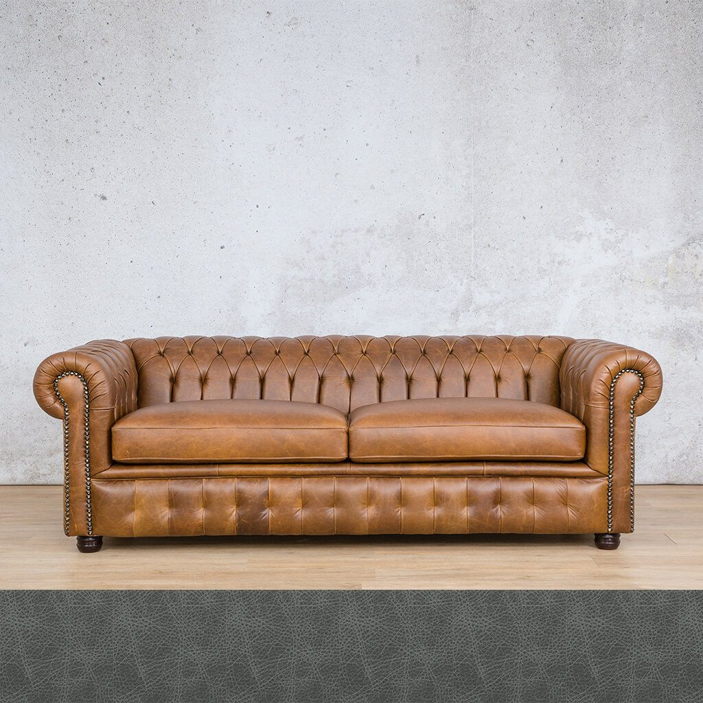 Chesterfield Leather Couch | 3 seater couch | Bedlam Blue Night | Couches for Sale | Leather Gallery Couches