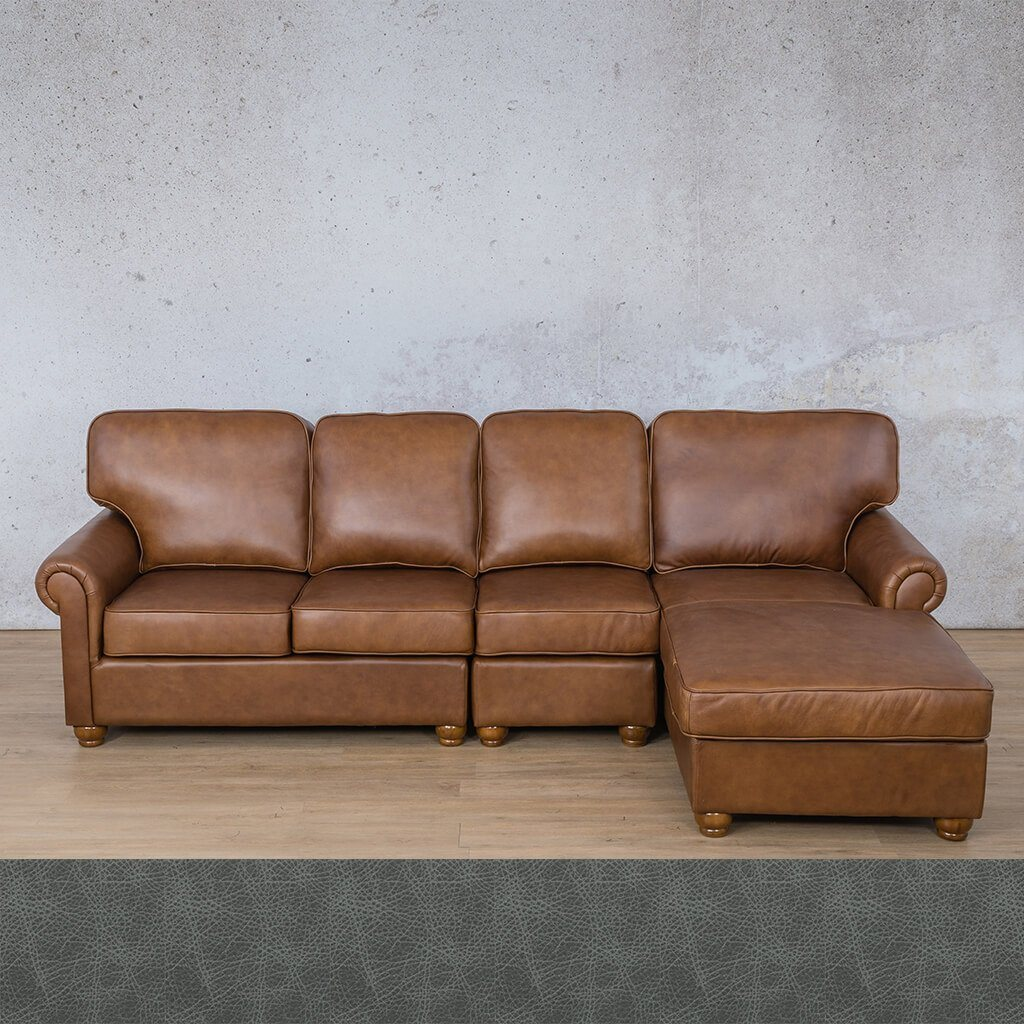 Salisbury Leather Corner Couch | Chaise Modular Sectional-RHF | Bedlam Blue Night | Couches For Sale | Leather Gallery Couches