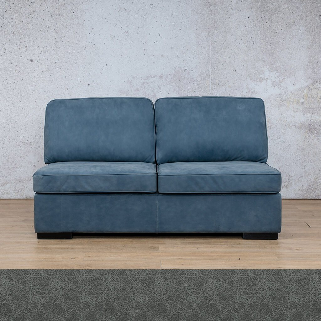 Arizona Leather Couch | Armless 2 Seater | Bedlam Blue Night | Leather Gallery