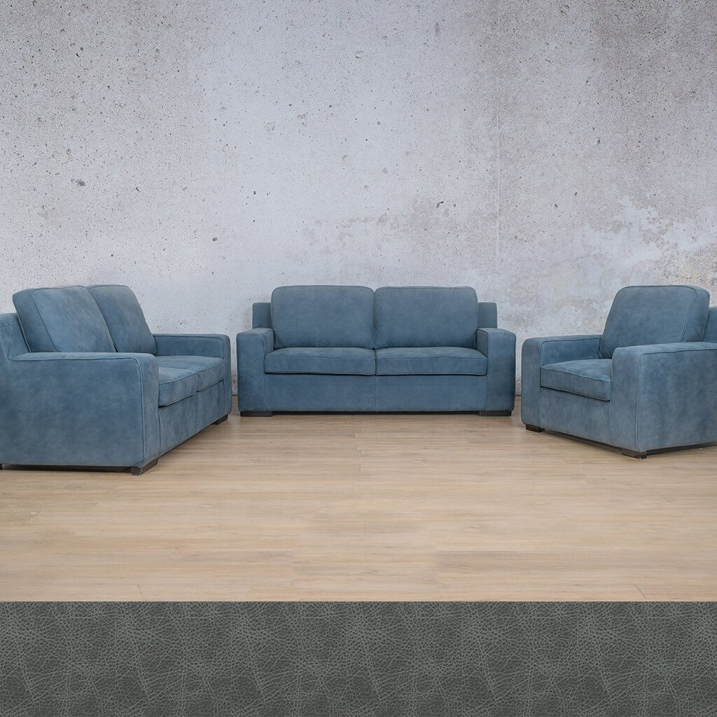 Arizona Leather Couches | 3-2-1 Seater Couches | Couches for Sale | Bedlam Blue Night | Leather Gallery Couches