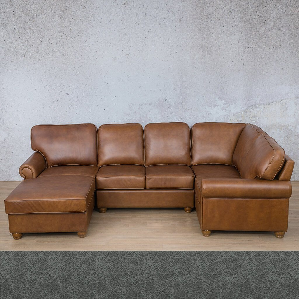 Salisbury Leather Corner Couch | U-Sofa Chaise Sectional LHF | Bedlam Blue Night | Couches For Sale | Leather Gallery Couches
