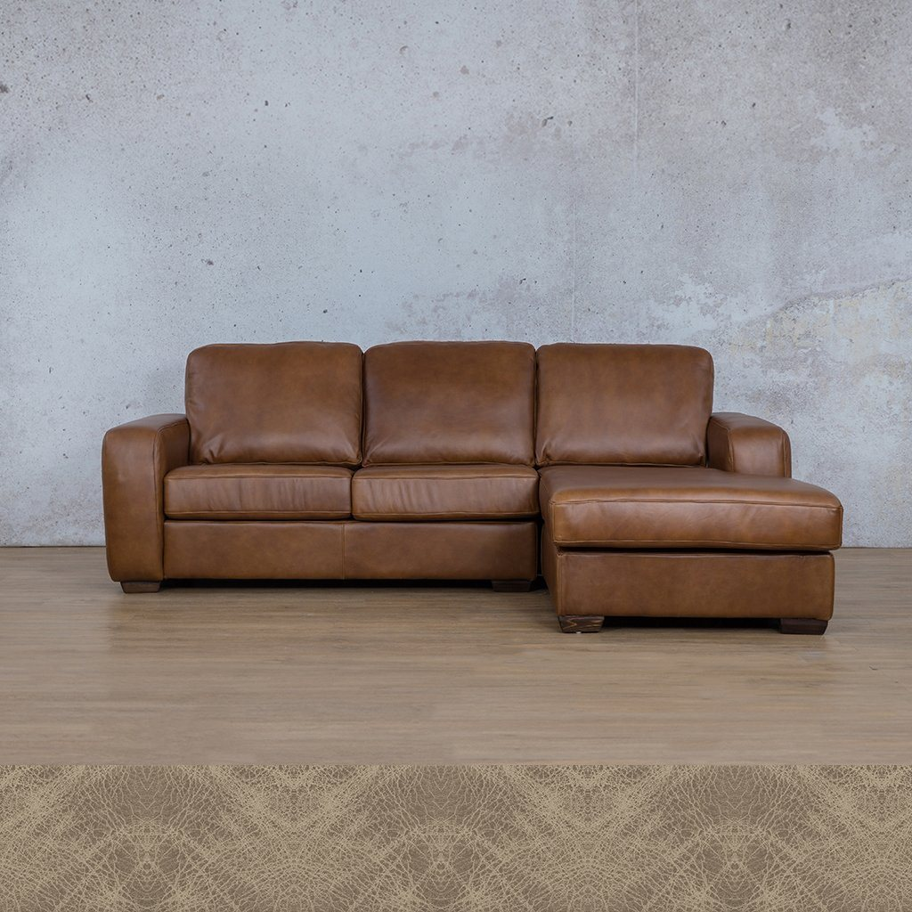 Starnford Leather Corner Couch | Sofa Chaise-RHF | Bedlam Taupe | Couches For Sale | Leather Gallery Couches